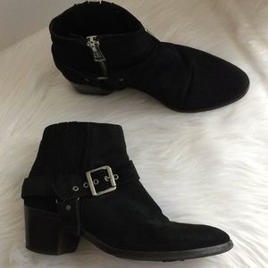 All Saints Bootie Black Leather Suede